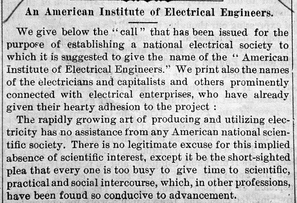 1884 Announcement to Form the American Institute of Electrical Engineers