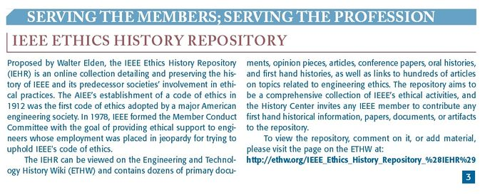 IEEE Ethics History Repository (IEHR) - Engineering and Technology