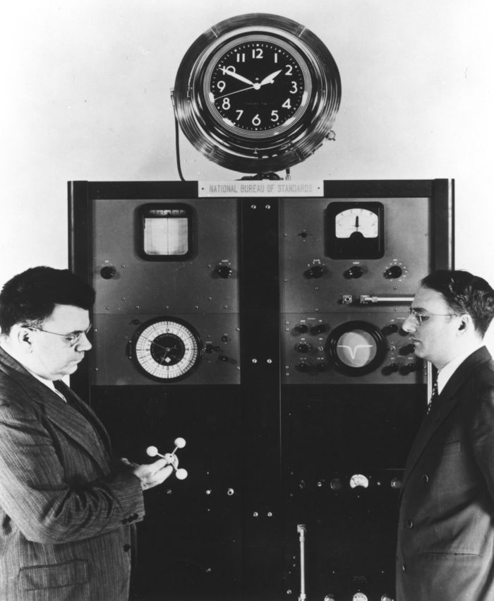 Condon (left) and Lyons (right) with Atomic Clock