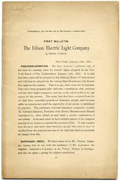 First Page Of The Edison Electric Light Co.